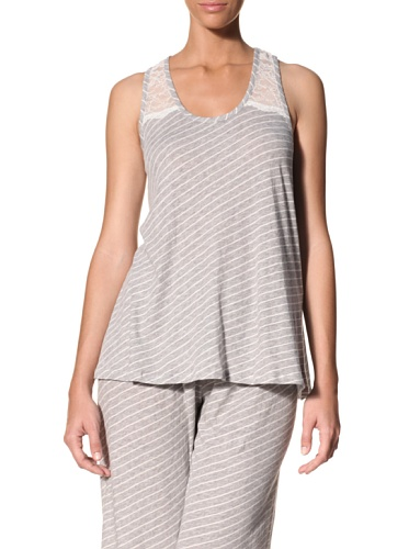 Nicole Miller Women's Petal Ombre Tank (Heather Stripe)