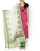 Unnati Silks Women Unstitched purple-green pure rajasthani venkatagiri cotton salwar kameez dress material
