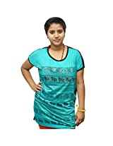 Odishabazaar Women's Cotton Elephant Print Red T-shirt Xl