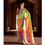 MultiColor Georgette Printed Saree.