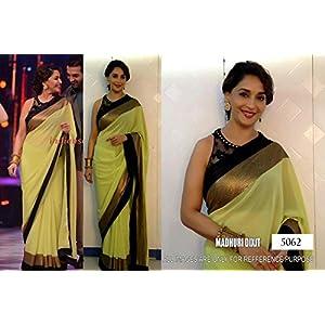 Madhuri Dixit Olive Green Sari With Black Blouse