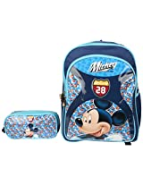 Mickey School Bag Motor Club with Pouch, Multi Color (14-inch)