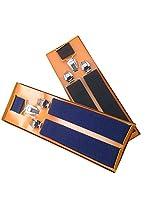 Sunshopping men's red and black seuspender(WSDWSDSC00023) (black & navy blue)