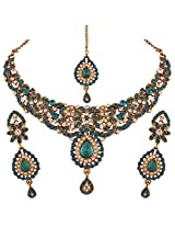 I Jewels Traditional Gold Plated Elegantly Handcrafted Stone Jewellery Set with Maang Tikka for Women M4031Sb (Turquoise/Bluish Green)