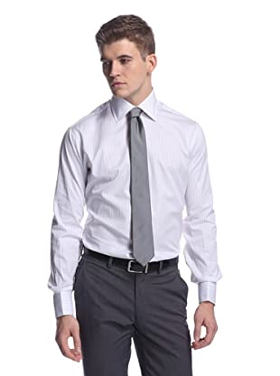 Oxxford Men's Spread Collar Dress Shirt (Purple/Blue Stripe And White)