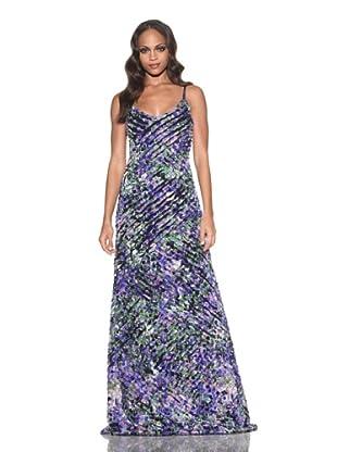Roberto Cavalli Women's Watercolor Print Silk Long Dress (Black Multi)