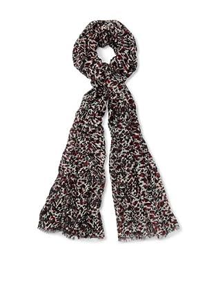 Bindya Cashmere Wool Blend Leopard Scarf, Cherry