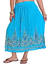 Exotic India Midi-Skirt with Printed Flowers Embellished with Sequins - Color Ocean BlueGarment Size Free Size