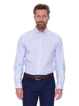 Cortefiel Camisa Fondo Azul Raya (Azul Medio)