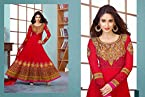 Ileana D'Cruz Long Floor Length Red Georgette Top With Santoon Dupatta Resham & Heavy Zari Embroidery Work Unstitched Anarkali Salwar Suit