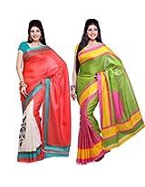 ISHIN Combo of 2 Bhagalpuri Silk Saree