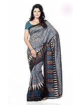 Shariyar Grey and Teal Jacquard Printed Saree PRG377