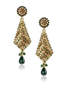 Taara Green Crystal Drop Earrings