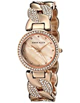Anne Klein Womens AK/1832CMRG Swarovski Crystal-Accented Rose Gold-Tone Cuff Bangle Watch