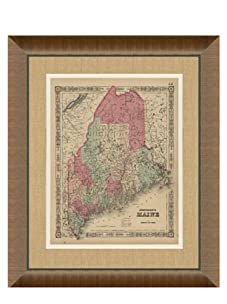 """Johnson and Ward Antique Map of Maine, 1860's, 24"""" x 26"""""""