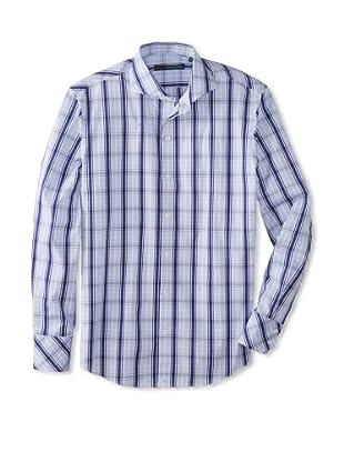 Zachary Prell Men's Brenton Checked Long Sleeve Shirt (White/Blue)
