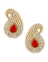 Ethnic india bollywood classic white paisley pearl Maroon stone earringSAEA0950MA