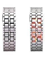 Geneva Stainless Steel Silver Digital Men Watch