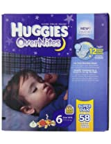 Huggies OverNites Diapers Size 6 Big Pack 58 Count