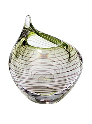 Global Views Green and Smoke Spiral Swoop Vase, Small
