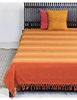 Fabindia Cotton Woven Tarini Bed Cover-2.35m x 2.60m-Rust