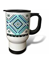 3dRose Aztec Andes Tribal Diamond Pattern Blue and White Travel Mug, 14-Ounce