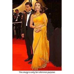 Ninecolours Aishwarya Rai Net Saree - Yellow