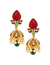 Habors Gold Plated Red Meenakari Jhumki Earrings