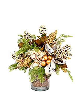 Creative Displays Country Christmas Pine Cone Floral, Crème/Gold/Brown/Green