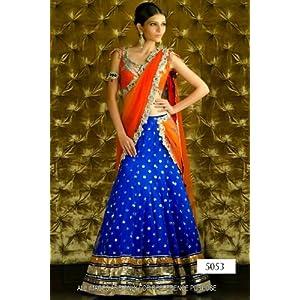 Exlusive Ethnic Designer hotlook party Blue & Orange Bollywood Replica Lehenga VIBS5053