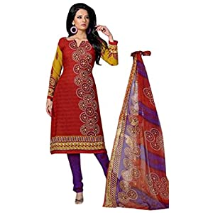 Variation Red Printed Dress Material For Women