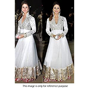 Bollywood Replica Urmila Matondkar Net and Brasso Anarkali Suit In White Colour VND 14
