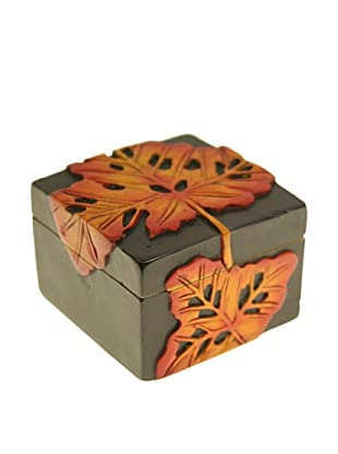 The Niger Bend Small Square Soapstone Box with Leaf Design
