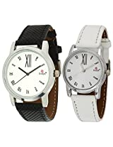 Evelyn Combo of Analogue White Dial Unisex Watch - Combo-W-210
