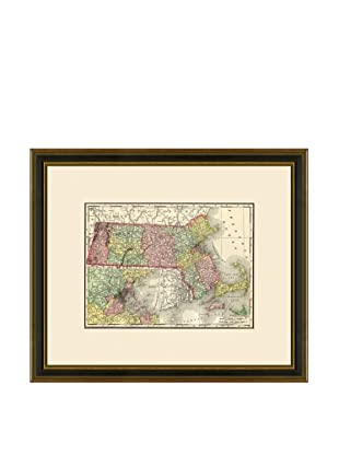 Antique Lithographic Map of Massachusetts, 1886-1899