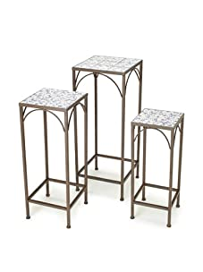 Esschert Design Aged Ceramic Nesting Plant Stands, Set of 3