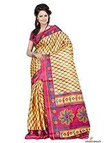 Khadi Cotton Printed Saree In Yellow Colour