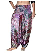 Famacart Women Printed Harem Pant Free Size purple