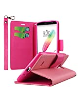 LG G Stylo Case, MPERO FLEX FLIP 2 Series Premium PU Leather Wallet [3 Pockets] Inner Flexible TPU Slim Fit Case for G Stylo with Magnetic Flap & Hand Strap - Pink with Hot Pink Interior