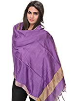 Exotic India Plain Dupatta from Jharkhand with Woven Stripes on Border - Color Purple HeartColor Free Size