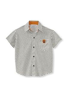 LA Lounge Boy's Striped Button-Up Shirt (Safari Green)