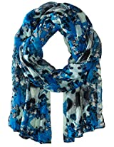 RAMPAGE Women's Watercolor Floral Light Weight Oblong Scarves, Blue, One Size