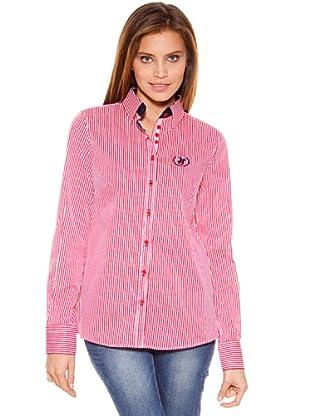 Polo Club Camisa Manga Larga Señora Entallada Raya (Rojo)