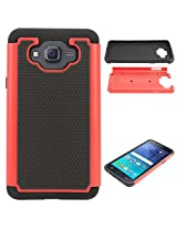 DMG Hybrid Dual Layer Armor Defender Protective Case Cover for Samsung Galaxy J5 J500 (Red)