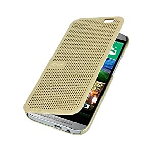 Dot View Touch sense Flip Back Case Cover for HTC Desire 820 - Gold