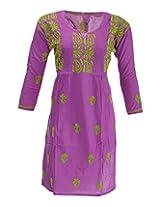 PR Chikans Women's Cotton Kurti (PR620, Purple, 40)