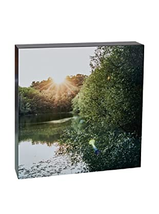 Art Block Rays Over Lake - Fine Art Photography On Lacquered Wood Blocks
