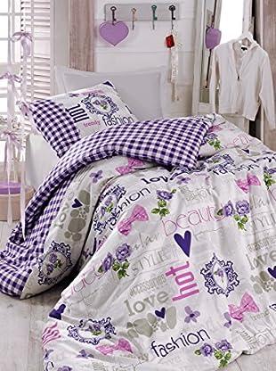 Homemania Bettwäsche Fashion Love flieder 155 x 200 cm