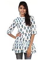 Blue, White Cotton Rajrang Printed Womens Tunic