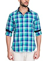 Zovi Cotton Slim Fit Casual Green and Blue Checkered Shirt with Roll-ups(11895103101_Small)